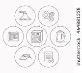 dishwasher  kettle and kitchen... | Shutterstock . vector #464881238