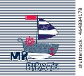 sailboat cartoon on striped... | Shutterstock .eps vector #464884178