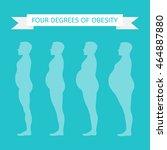 male figure in profile. obesity ... | Shutterstock .eps vector #464887880