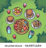 picnic food in the meadow. flat ... | Shutterstock .eps vector #464891684