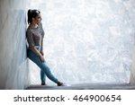 young brunette girl in glasses... | Shutterstock . vector #464900654