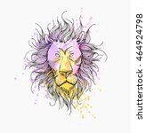 hand drawn portrait of  lion... | Shutterstock .eps vector #464924798