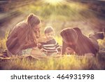 happy family with their kid in... | Shutterstock . vector #464931998