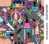 manicure  nail salon. seamless... | Shutterstock .eps vector #464938484
