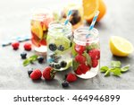 detox water in bottles with... | Shutterstock . vector #464946899