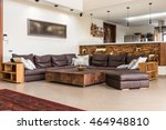 big leather sofa in apartment... | Shutterstock . vector #464948810