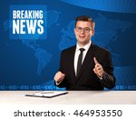 television presenter in front... | Shutterstock . vector #464953550