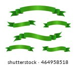 set of green ribbon banners.... | Shutterstock .eps vector #464958518