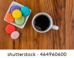 image of coffee and macaroons... | Shutterstock . vector #464960600