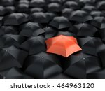 red umbrella over many black... | Shutterstock . vector #464963120