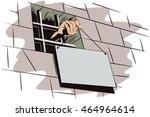 stock illustration. jail.... | Shutterstock .eps vector #464964614
