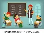set of children sitting at... | Shutterstock .eps vector #464973608