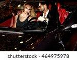 couple in luxury car. night... | Shutterstock . vector #464975978