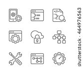 web development icons set  thin ... | Shutterstock .eps vector #464976563
