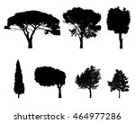 vector trees in silhouettes.... | Shutterstock .eps vector #464977286