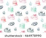 tasty cakes seamless pattern.... | Shutterstock .eps vector #464978990