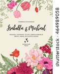 vintage wedding invitation.... | Shutterstock .eps vector #464989058