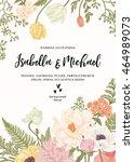vintage wedding invitation.... | Shutterstock .eps vector #464989073