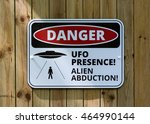 Small photo of HARROGATE, UK - August 7: Danger UFO Presence Alien Abduction Warning Sign on August 7, 2016 in Harrogate.