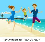 father and mother holding son's ... | Shutterstock .eps vector #464997074