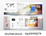 vector set of tri fold... | Shutterstock .eps vector #464999879