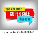 sale red banner. super sale... | Shutterstock .eps vector #465000140