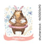 cute cartoon bear holding two... | Shutterstock .eps vector #465005690