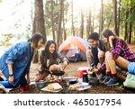 breakfast camping eggs relax... | Shutterstock . vector #465017954