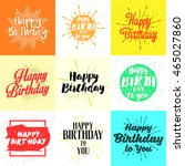 vintage happy birthday... | Shutterstock .eps vector #465027860