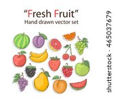 fruit set isolated on a white...   Shutterstock .eps vector #465037679