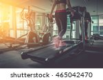 woman running in a gym on a... | Shutterstock . vector #465042470