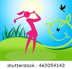 golf swing woman meaning... | Shutterstock . vector #465054143