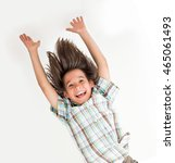 little boy hanging upside down | Shutterstock . vector #465061493