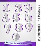 purple vector paper numbers.... | Shutterstock .eps vector #465065339