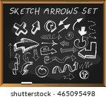 sketch arrows on chalkboard... | Shutterstock . vector #465095498
