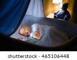 adorable baby drinking milk in... | Shutterstock . vector #465106448