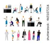 set of restaurant employees and ... | Shutterstock . vector #465107216