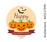 pumpkins and bats. halloween... | Shutterstock .eps vector #465117590