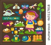 vector of spring icons   Shutterstock .eps vector #465117818