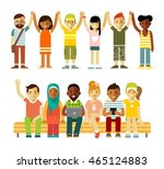 modern multicultural society... | Shutterstock .eps vector #465124883