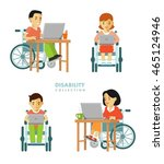 disability worker people set.... | Shutterstock .eps vector #465124946