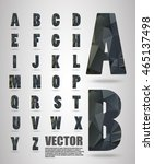 vector alphabet mosaic font low ... | Shutterstock .eps vector #465137498