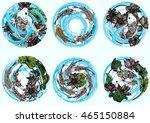 set circle hand drawn vector... | Shutterstock .eps vector #465150884