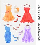 dresses  bag  and high heeled... | Shutterstock .eps vector #465154784