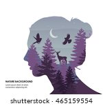 Woman face silhouette. Forest background.Vector double exposure illustration.Woman face and beautiful nature landscape inside.Forest,park,trees,moon,night.Violet colors.Vector poster.Woman silhouette. | Shutterstock vector #465159554