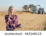 female farmer using digital... | Shutterstock . vector #465168113