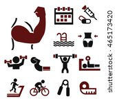 healthy and fitness icon set | Shutterstock .eps vector #465173420