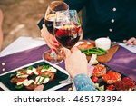 a beautiful decorated table in... | Shutterstock . vector #465178394