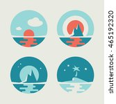 Set Of Round Vector Icons With...