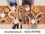 people eat healthy meals at...   Shutterstock . vector #465195998